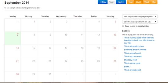 Weekly Calendar Bootstrap : Free bootstrap resources tools and designs
