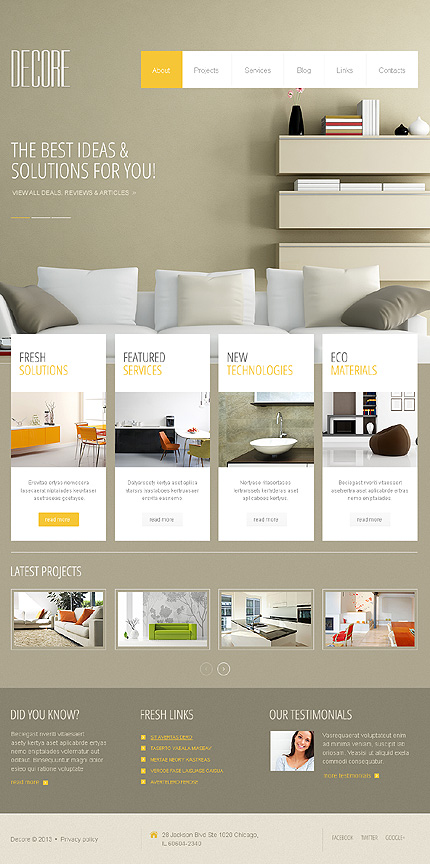 40 attractive interior design wordpress themes for Interior design layout templates