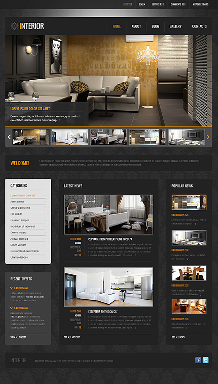 Black Interior Design WordPress Theme