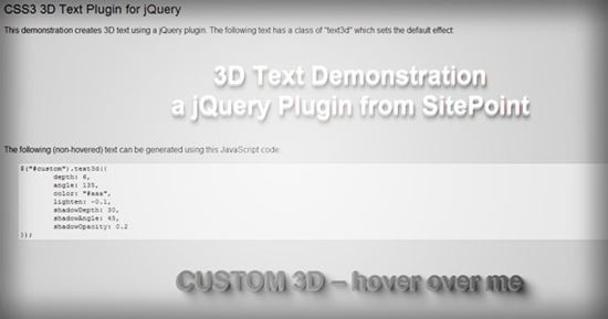 How to Create a CSS3 3D Text Plugin for jQuery