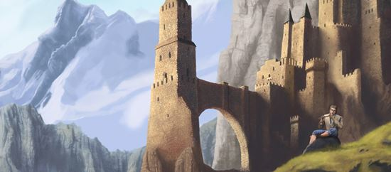 Painting-a-Castle-and-Mountain-Scene
