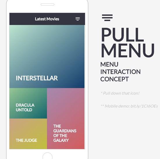 Pull Menu – Menu Interaction Concept