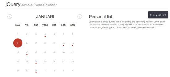 jQuery Simple Event Calendar