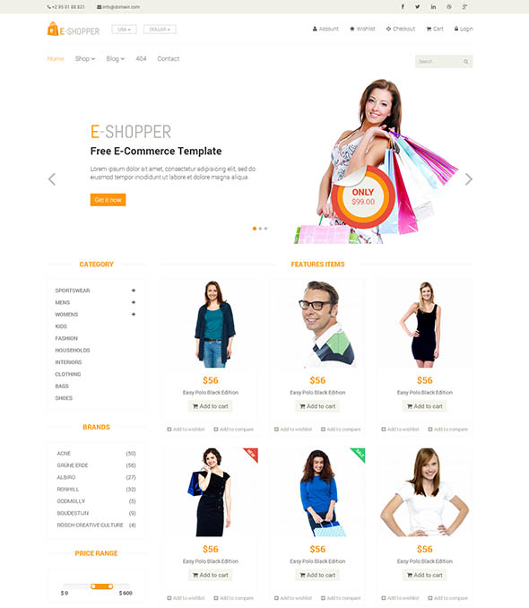 E-Shopper – Best Free E-Commerce HTML Template