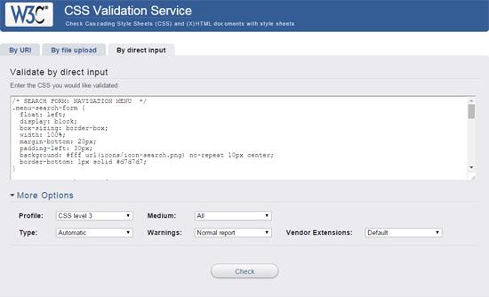 W3C CSS Validation Service