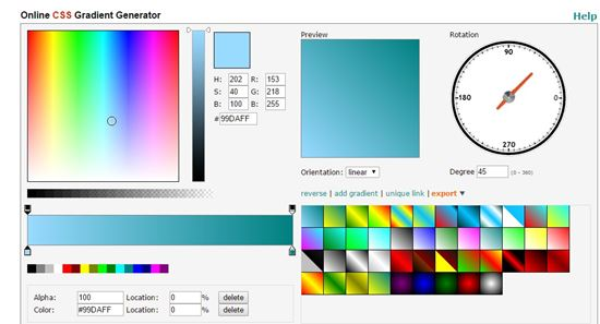 Angry tools CSS Gradient generator