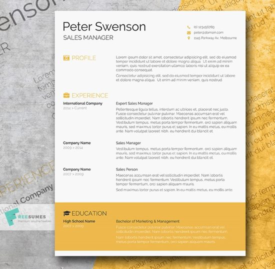 goldenrod yellow a free clean word resume template - Best Resume Templates Free Download