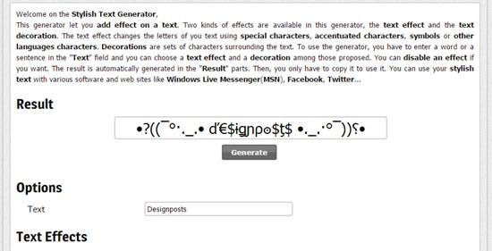 2) Stylish Text Generator