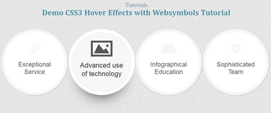 27) CSS3 Hover Effects with WebSymbols