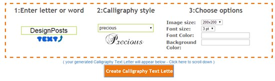 5) Calligraphy Free Text Generator