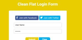 6) Clean and Flat Login Form