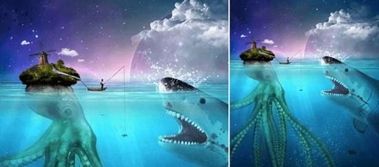 Create a Fisherman Hunting a Shark Scene