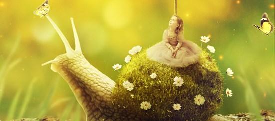 Create a Little Girl Riding a Grassy Shell Snail