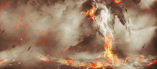 Fiery Dragon Ravaging Mountain Village
