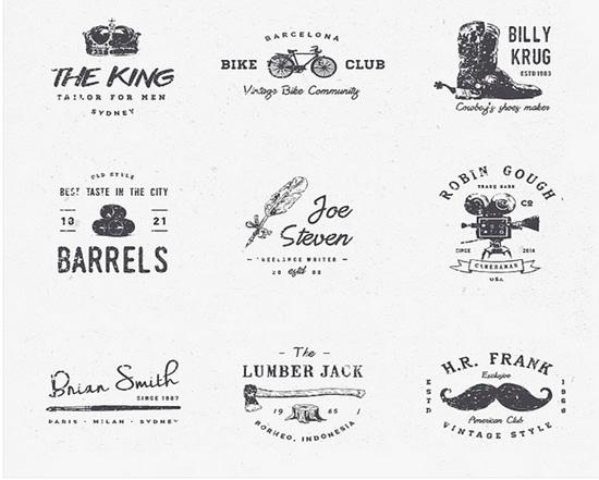 11) 15 Grunge Vintage Style Vector Badges