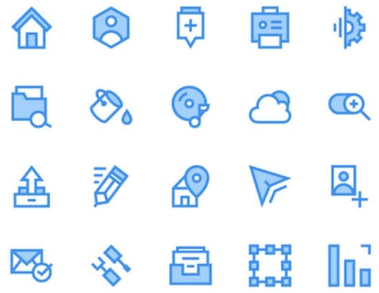4) 40 Blue and Green Outline Icons Pack