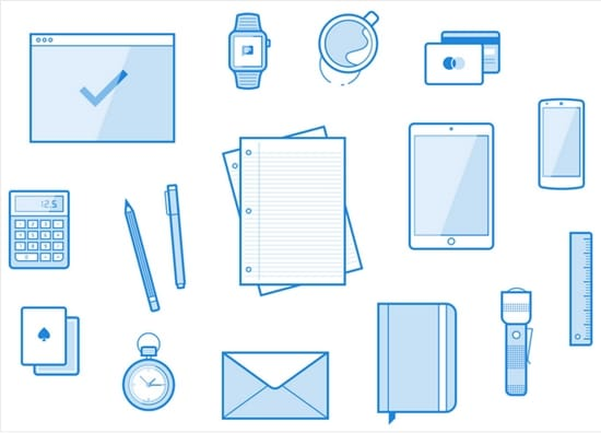 5) 16 Line Style Workspace Element Vector Illustrations