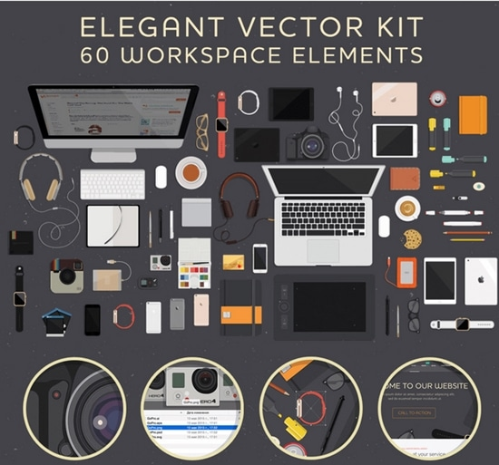 8) A workspace Element Vector Illustration Kit