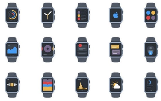 9) 20 Apple Watch Flat Style AI Icons