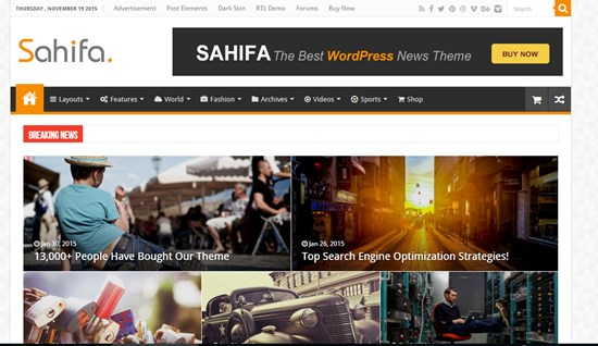 13) SAHIFA Responsive WordPress news, magazine, blog theme