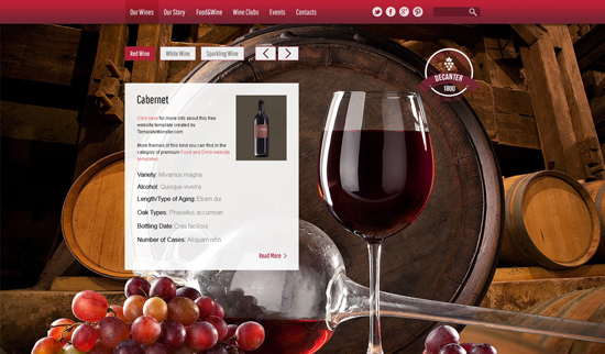 Wine & Winery Free HTML5 Theme