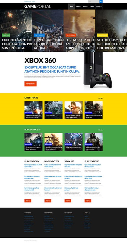 Video Games WordPress Theme
