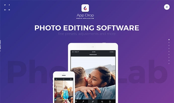 App Drop - Photo Editing Application WordPress Theme