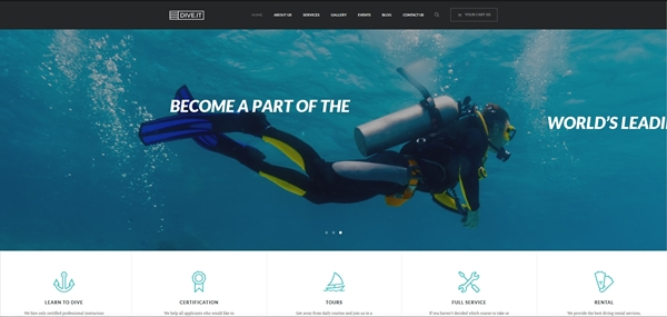 Scuba Diving School WordPress Theme