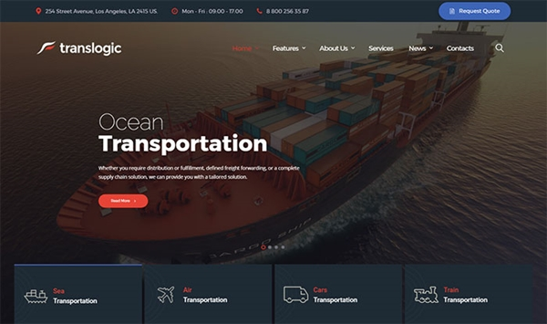 Translogic - Transportation Services WordPress Theme