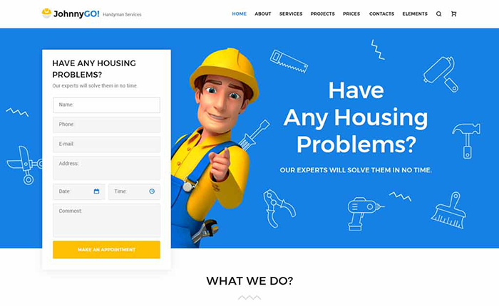 JohnnyGo - Multipurpose Home Services WordPress theme Handyman